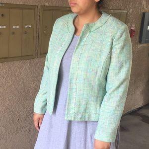 Mint green tweed blazer